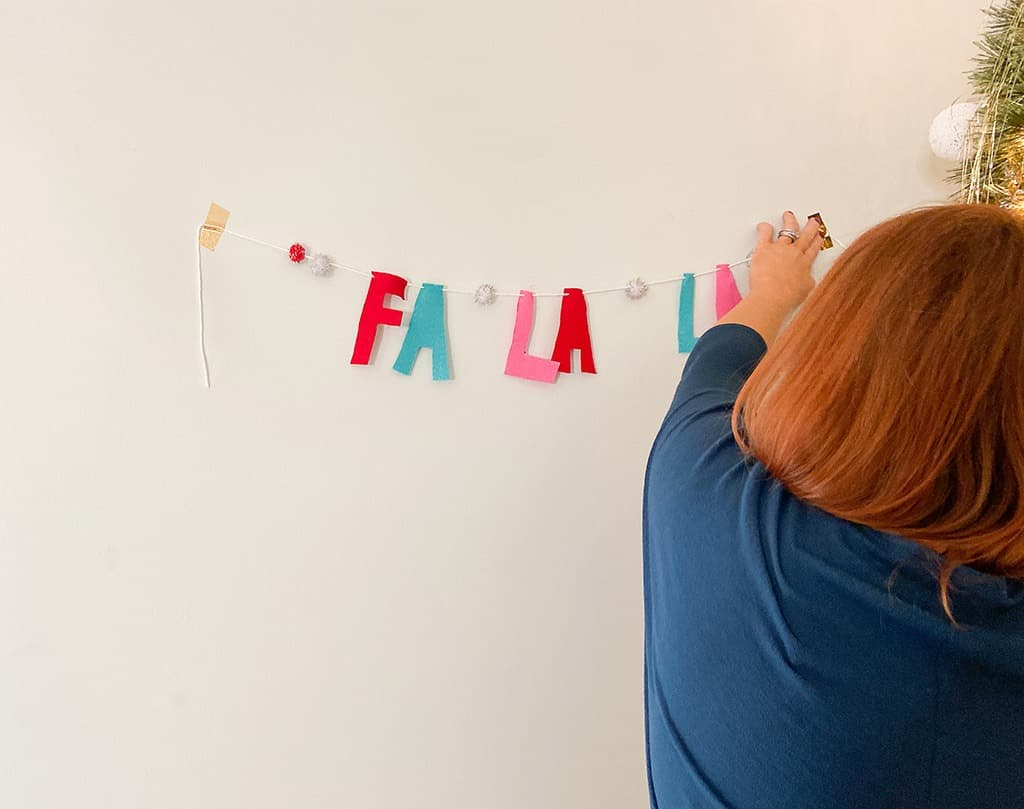 Hang diy banner made of felt letters