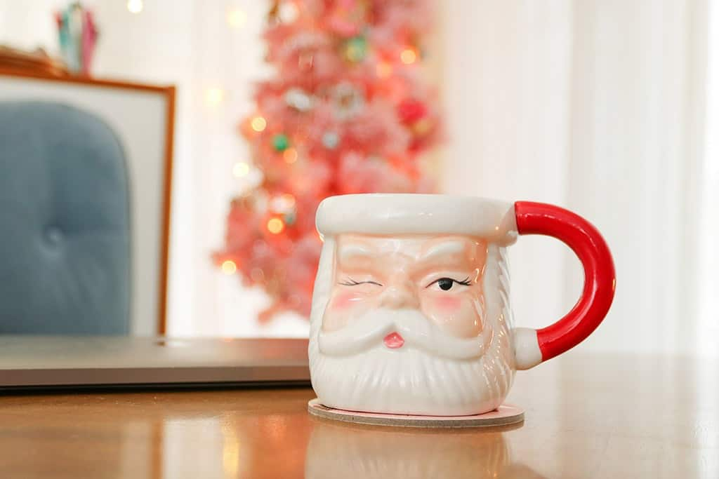 Santa holiday mug and pink tree