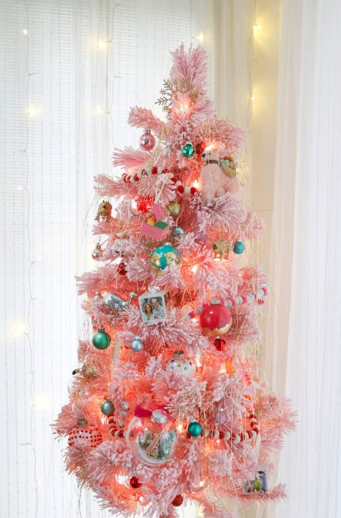 pink flocked christmas tree