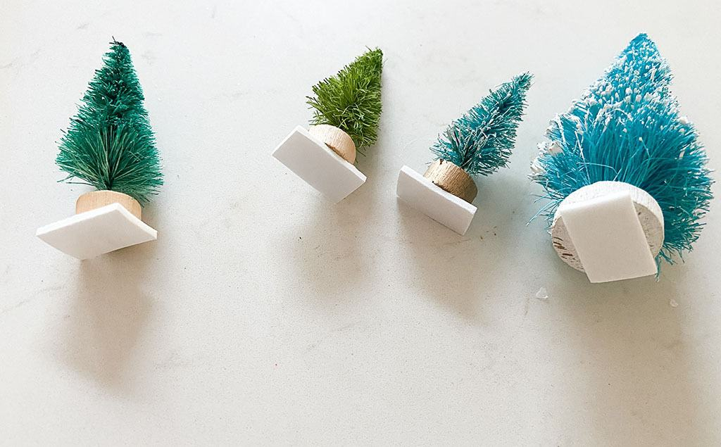 add tape dots to bottom of bottle brush trees