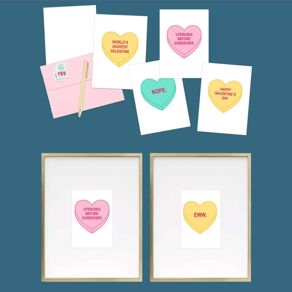 Funny Valentine Freebies – 30 FREE art and card printables