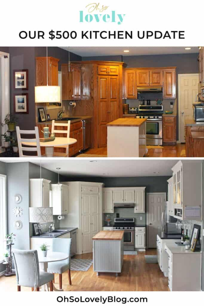 Learn how we did our DIY $500 diy kitchen remodel on our builder's grade kitchen — painted cabinets, subway tile, and concrete countertops.