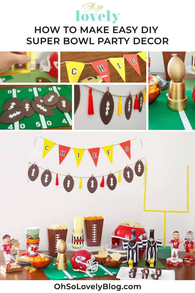 Super Bowl party DIY decor ideas and football sports memorabilia for your event — easy, fun and festive. Let's go Kansas City Chiefs!