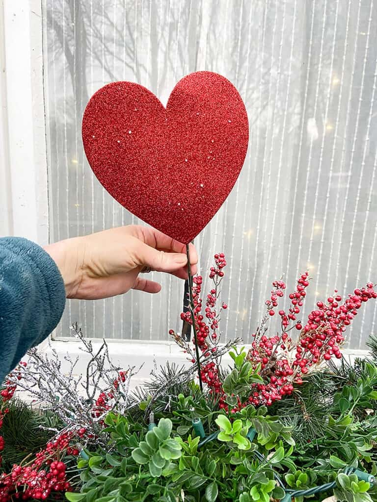 Valentine's Day outdoor decor – 3 easy and affordable ideas for your front porch window boxes, trees, and more. So festive!