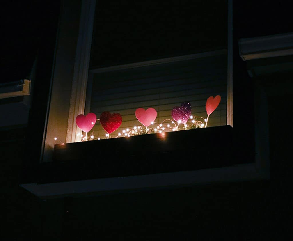 Foam heart picks in window box at night with fairy lights