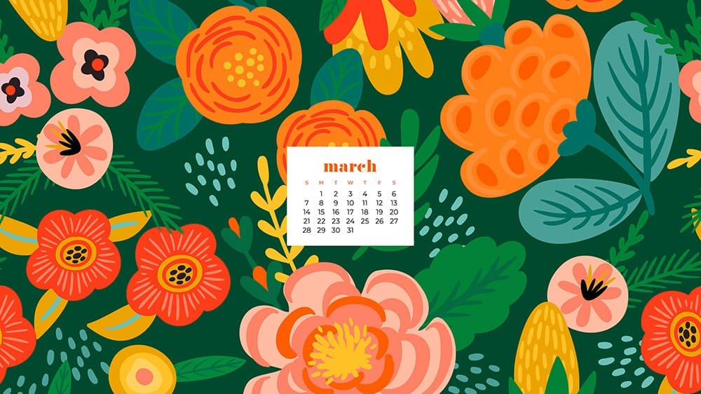 It's March 2021 wallpaper time! 30 cute options for desktop & phone – in Sunday & Monday starts + no calendar options. Download yours now!