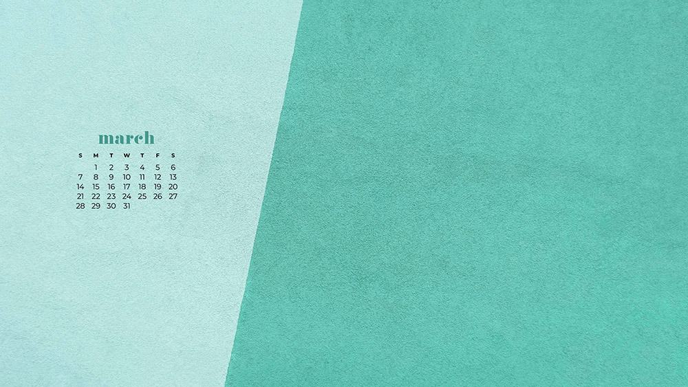 free turquoise textured wallpaper for March