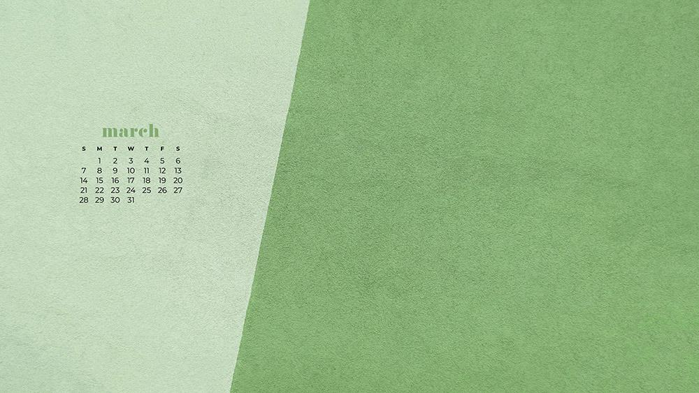 free green textured wallpaper for March
