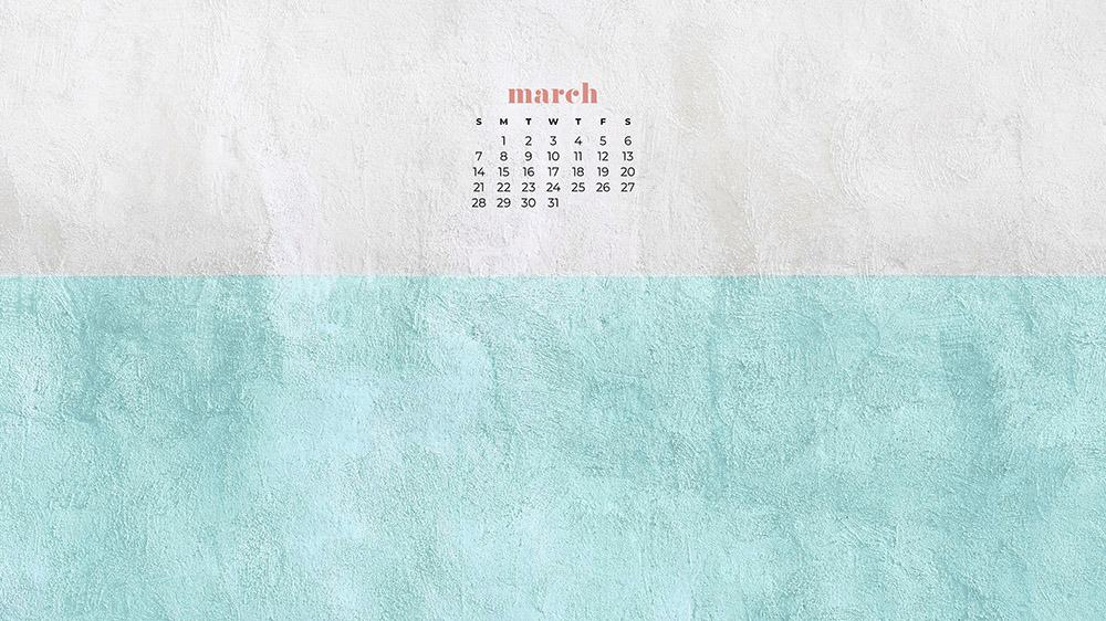 free aqua and white textured wallpaper for March