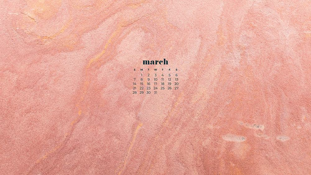 free pink and coral textured wallpaper for March