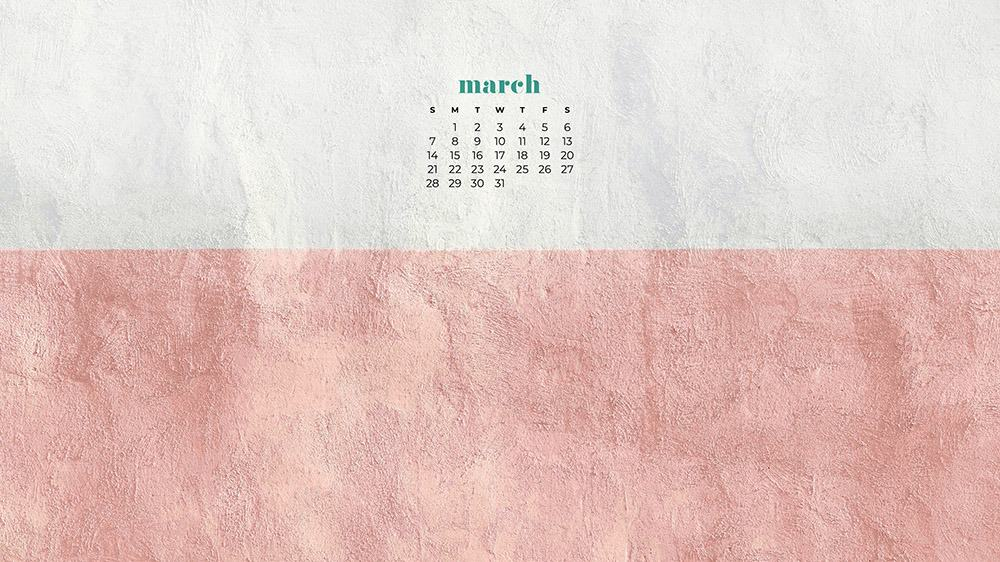 free pink and white textured wallpaper for March