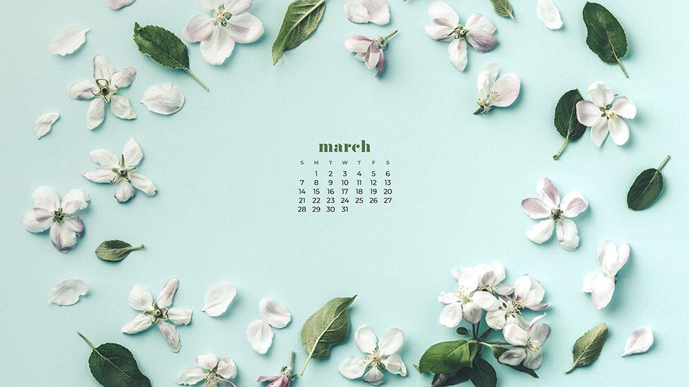 Free floral March 2021 wallpaper calendar