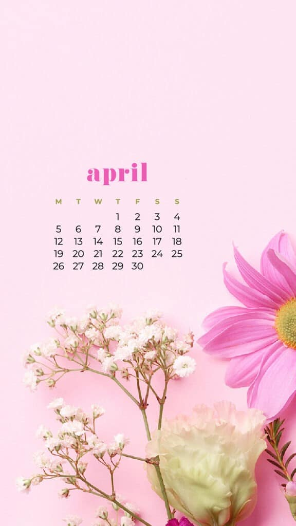 free flowers phone wallpaper with April 2021 calendar pinks