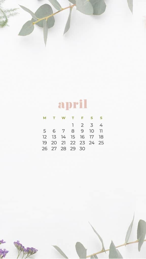 free flowers phone wallpaper with April 2021 calendar
