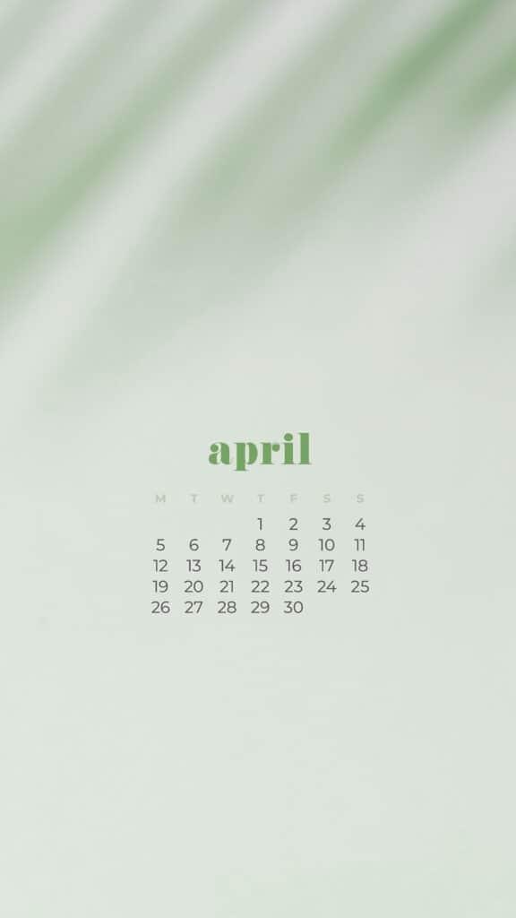 free plant phone wallpaper with April 2021 calendar