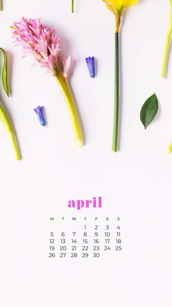 free floral phone wallpaper with April 2021 calendar