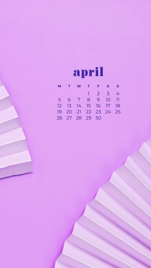 free purple fans phone wallpaper with April 2021 calendar