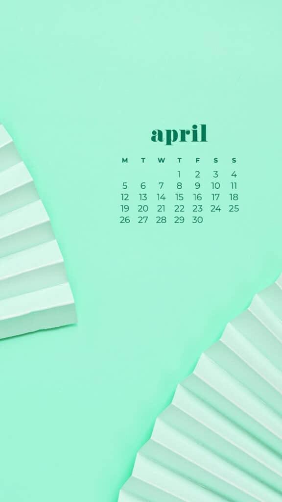 free aqua fans phone wallpaper with April 2021 calendar