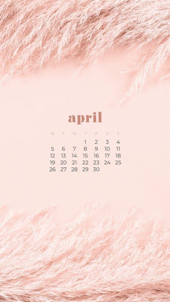 free neutral pampas grass phone wallpaper with April 2021 calendar