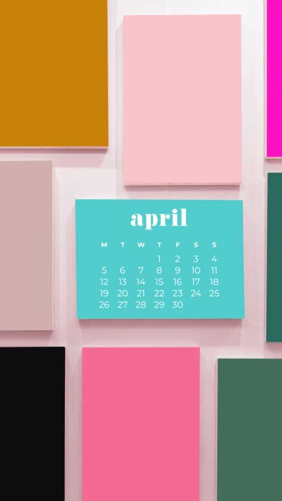 free colorful rectangles phone wallpaper with April 2021 calendar