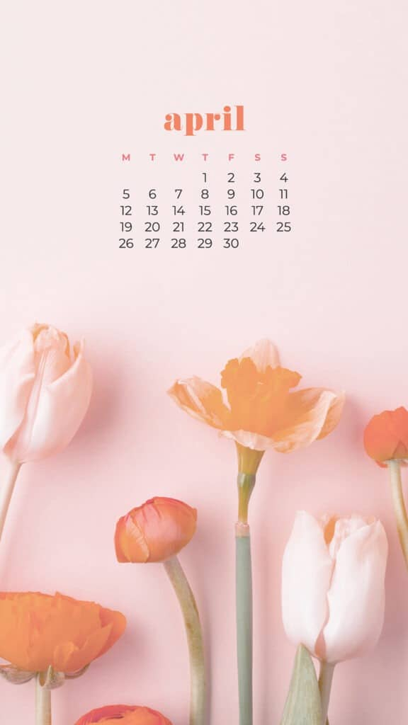 free colorful floral phone wallpaper with April 2021 calendar tulips