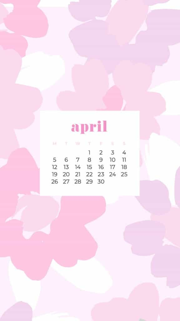 free colorful floral phone wallpaper with April 2021 calendar