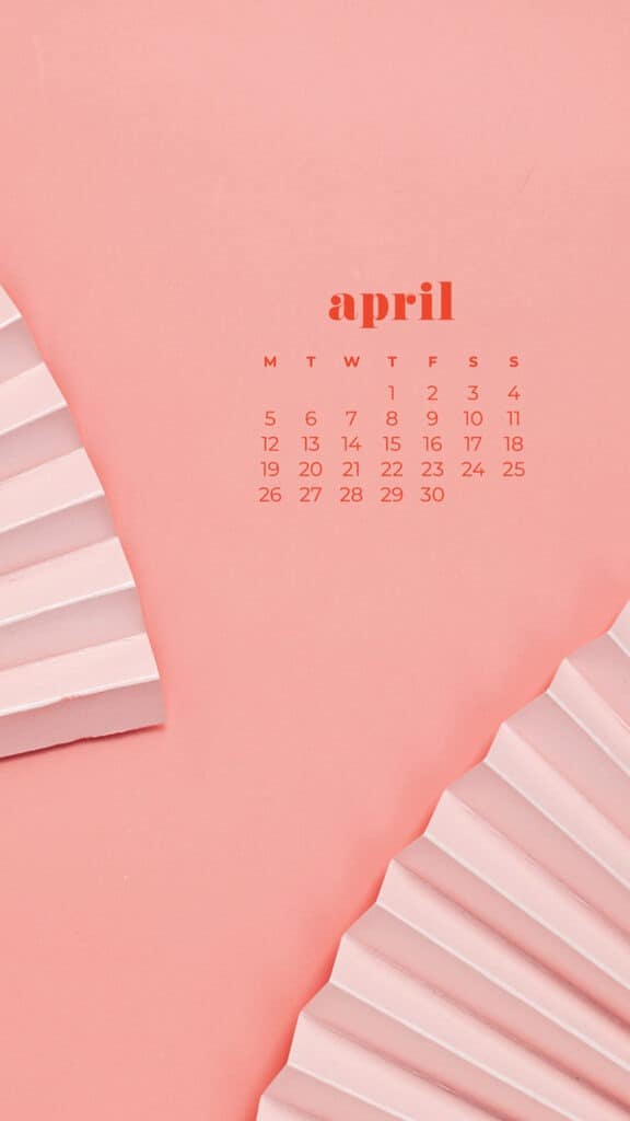 free colorful coral fans phone wallpaper with April 2021 calendar