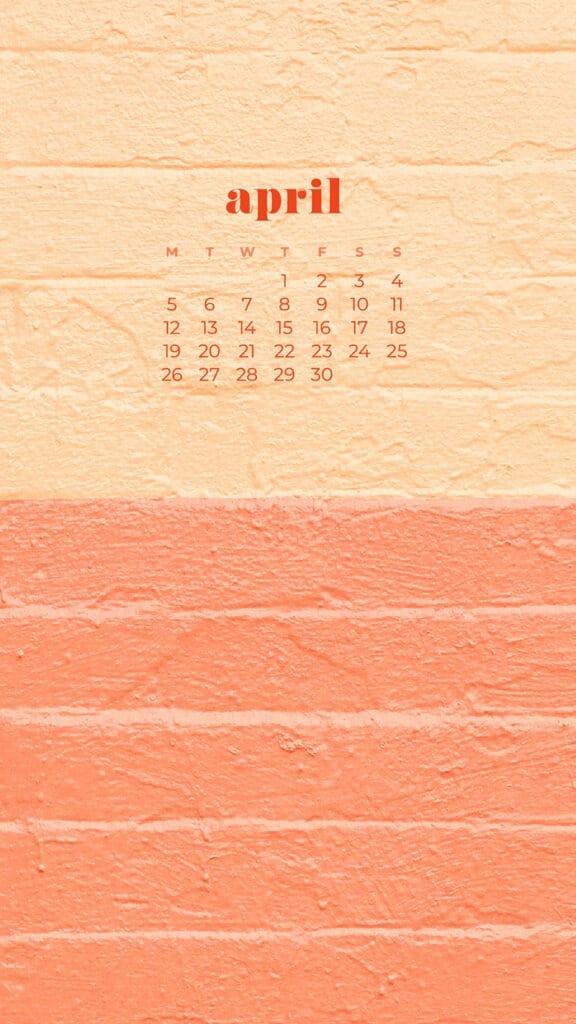 free colorful bricks phone wallpaper with April 2021 calendar