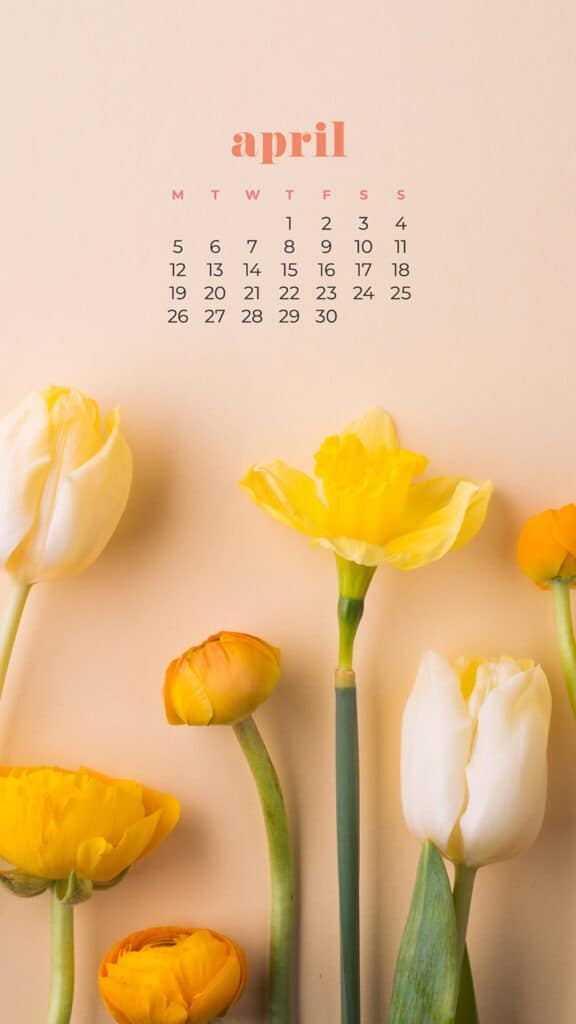 free colorful floral tulips phone wallpaper with April 2021 calendar