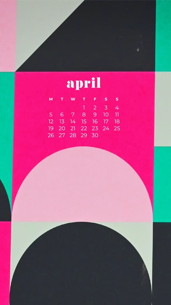 free colorful abstract phone wallpaper with April 2021 calendar