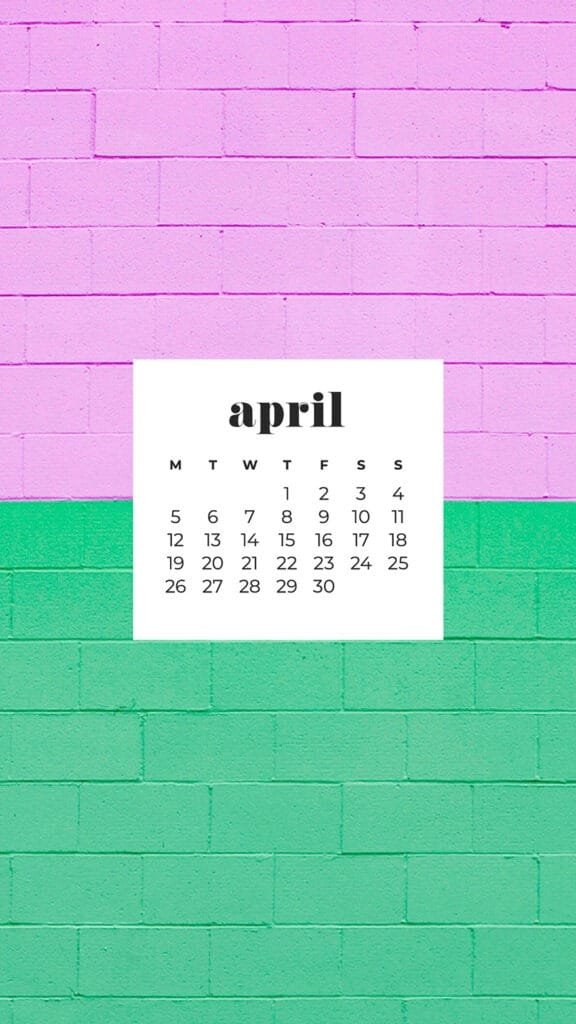 free pink and green brick phone wallpaper with April 2021 calendar