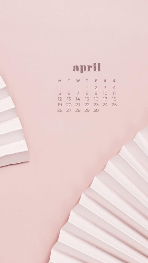 free neutral fans phone wallpaper with April 2021 calendar