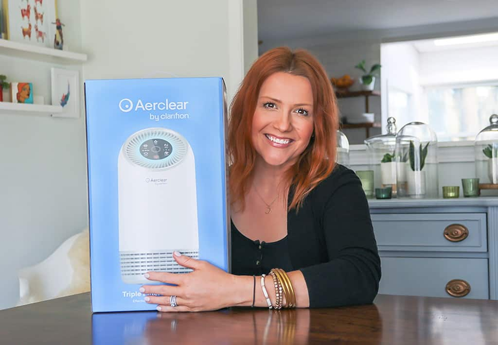 Audrey with air purifier by Clarifion