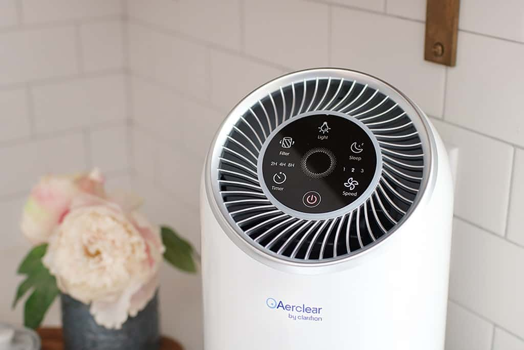 close up of air purifier by Clarifion on kitchen counter