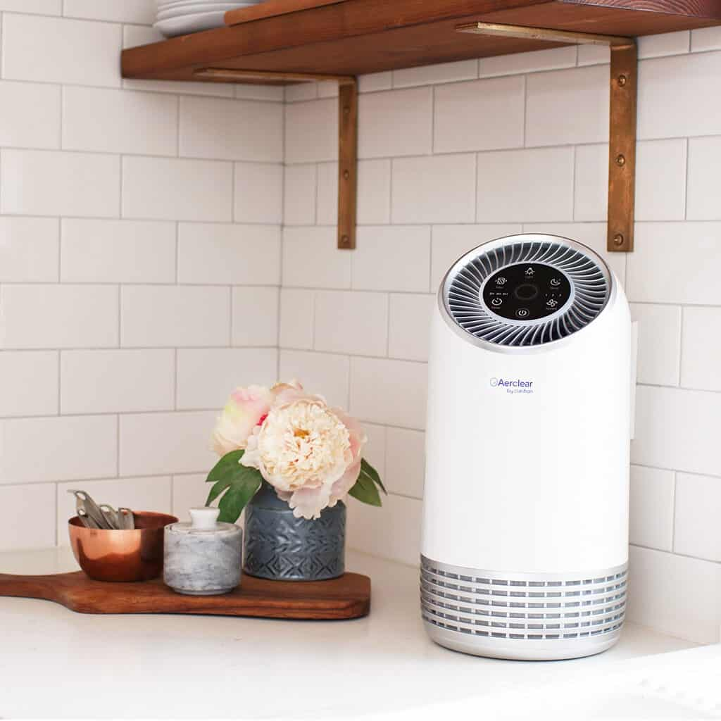 air purifier by Clarifion on kitchen counter