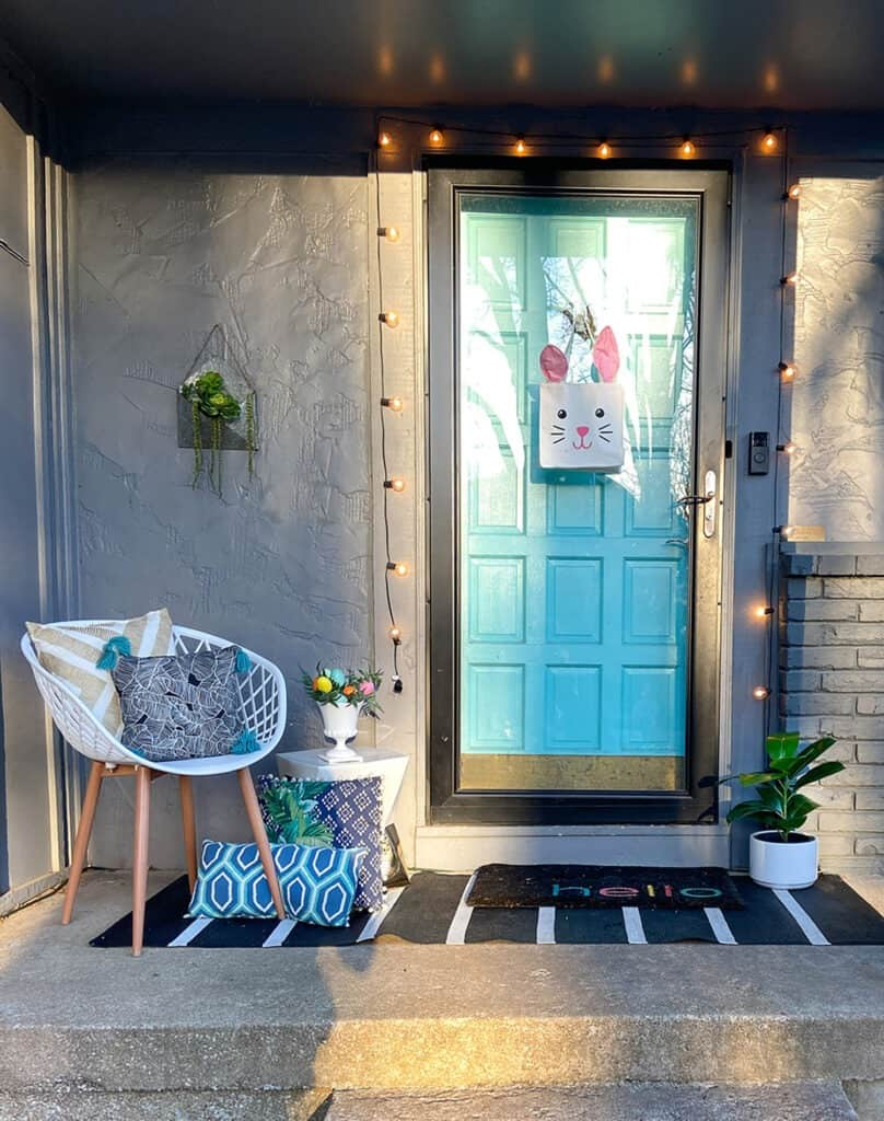 Easter decor ideas for your front porch and window boxes. Get the festive, cute, and colorful look quickly and affordably!