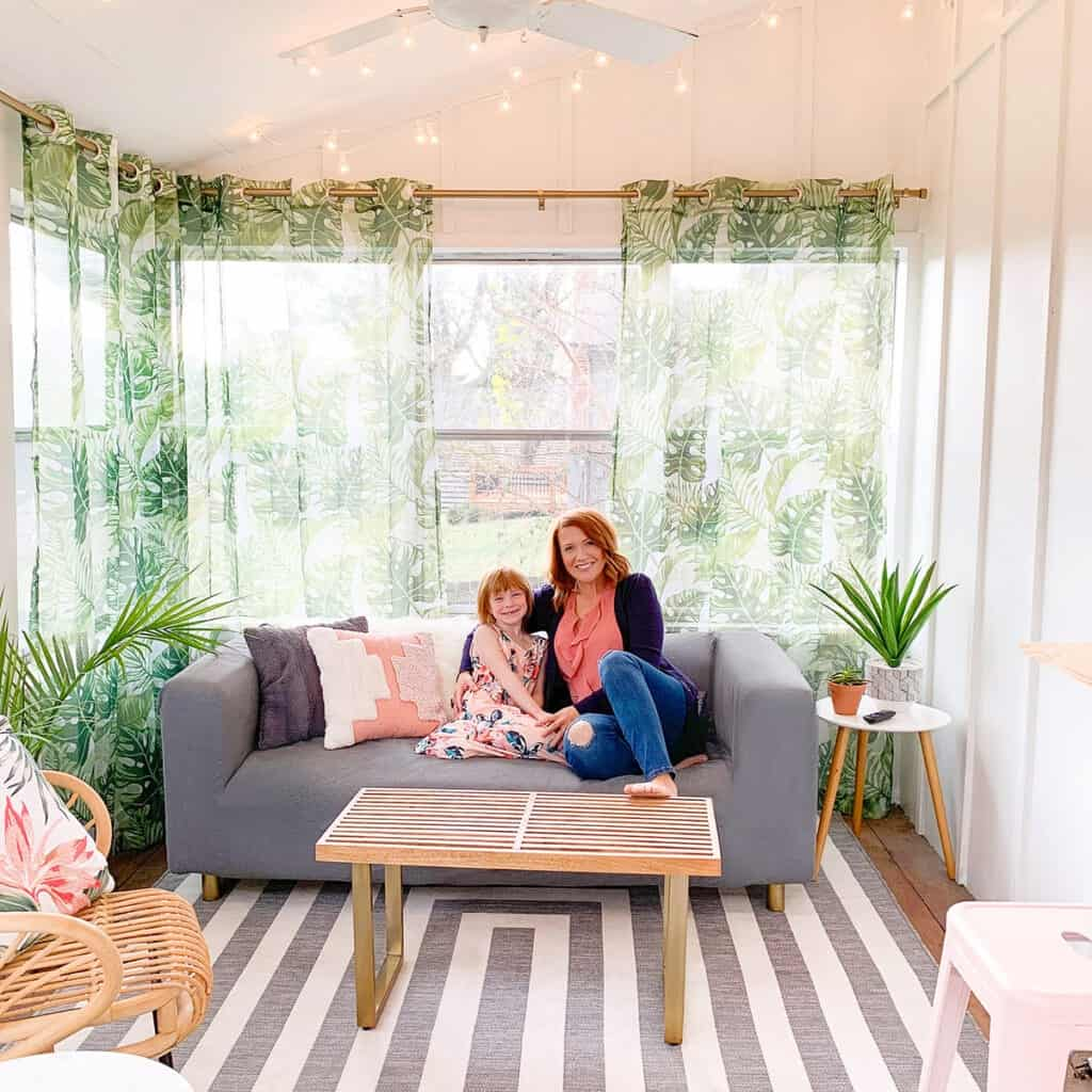 Learn how we updated our sun porch on a small budget and turned it into our tropical oasis with the help of Cricut Joy.