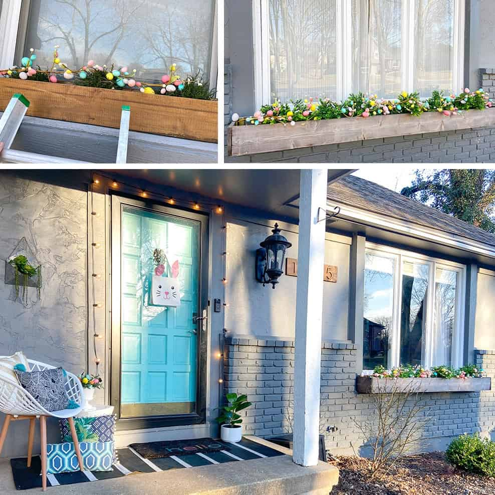 Easter decor ideas for your front porch and window boxes. Get the cute and colorful look quickly and affordably!