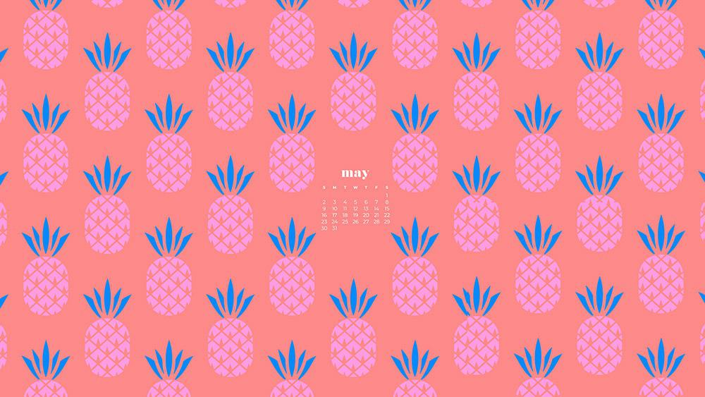 pink pineapple illustration on a coral background