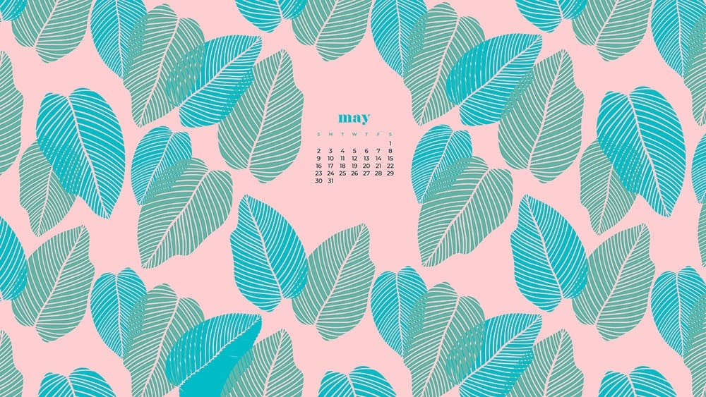 modern green and turquoise palm leaves on a pink background