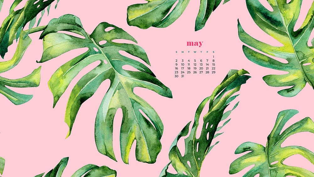 watercolor palm leaves on a pink background