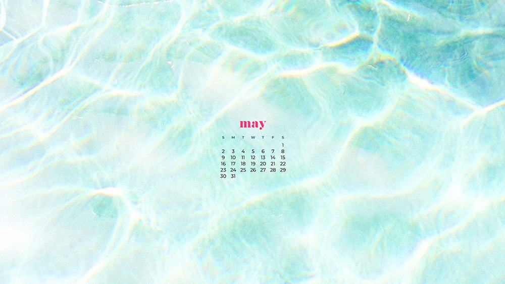 light blue pool summer background with may calendar