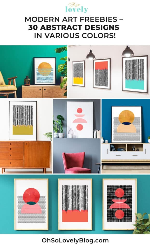 Modern abstract free printables – 30 colorful designs to choose from!