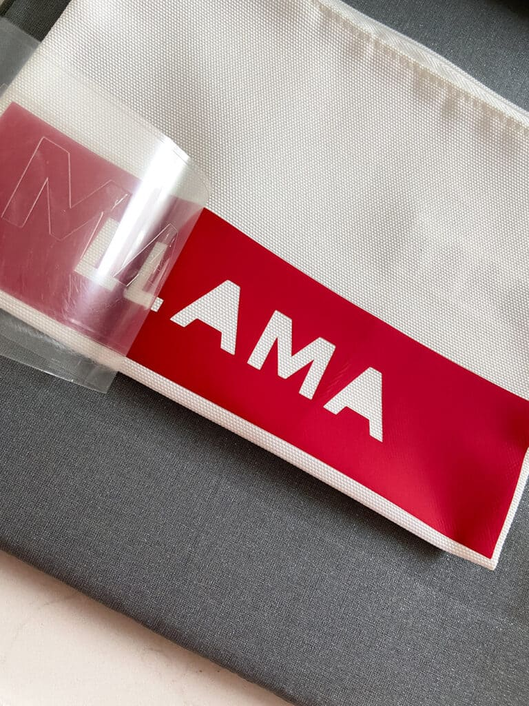 LLAMA iron on design in red for Mother's Day gift bag