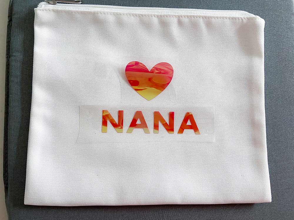 NANA iron on design in red for Mother's Day gift basket