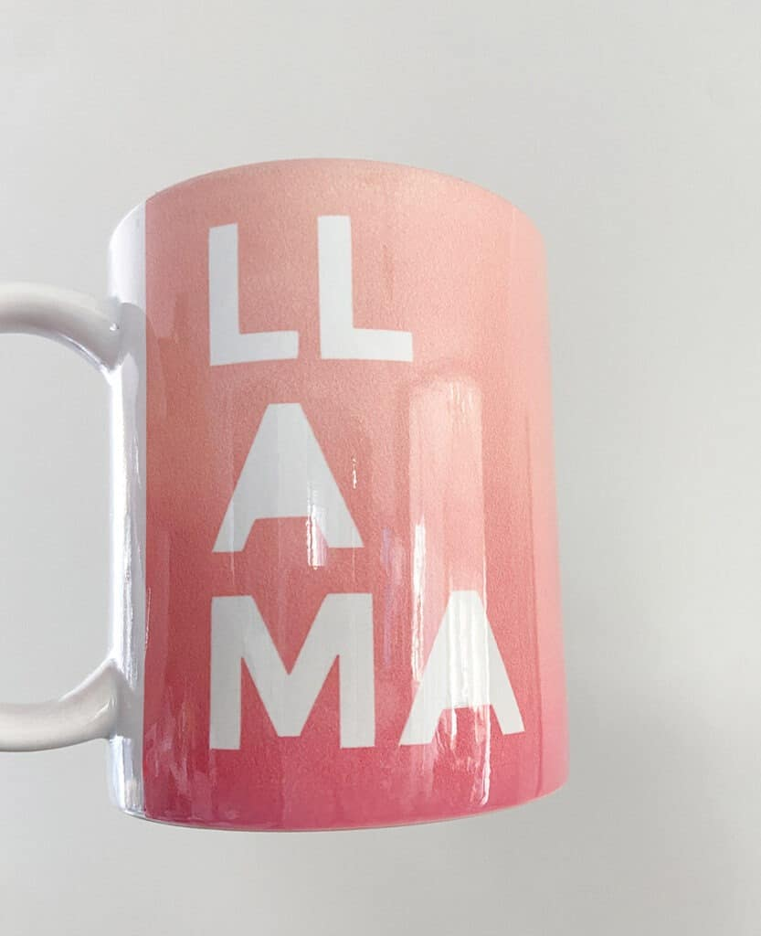 Finished LLAMA mug out of Mug Press gift for a Mother's Day gift basket