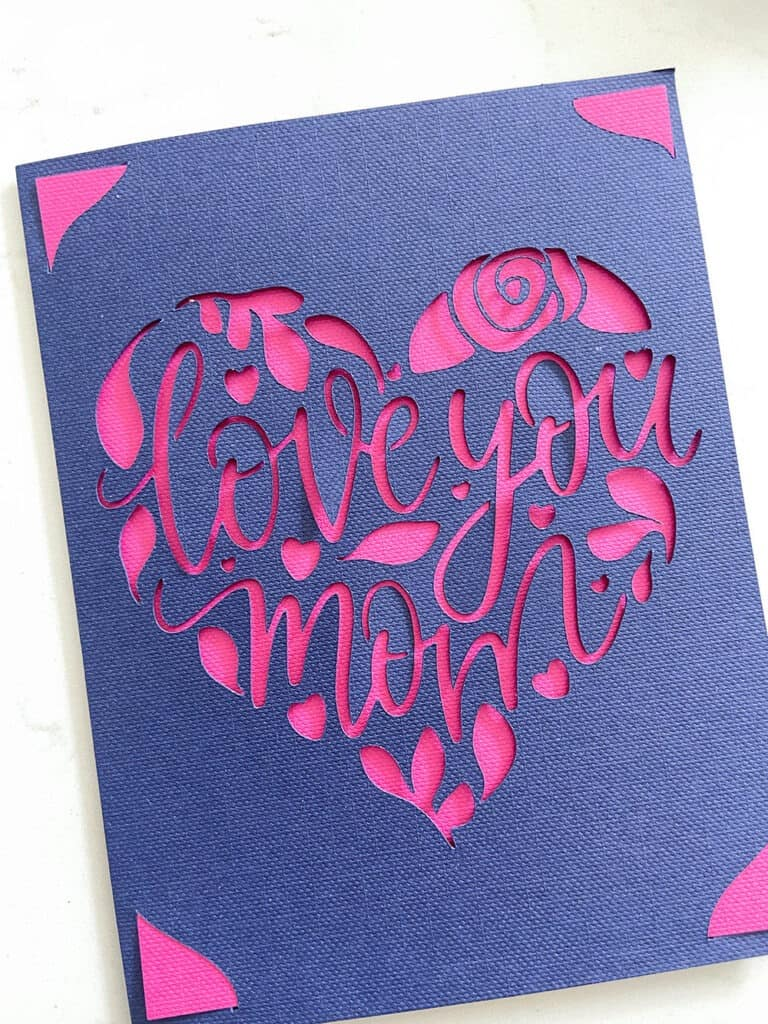 Cricut card for Mother's Day gift basket