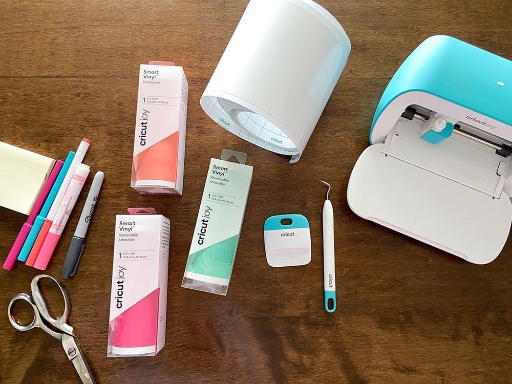 Cricut supplies for a table top design makeover using vinyl