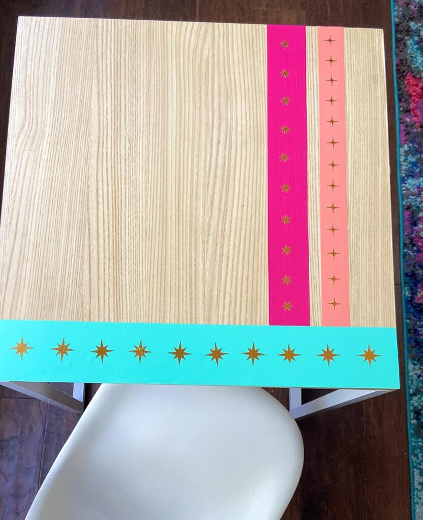 Arial view of the colorful kid desk makeover with chair