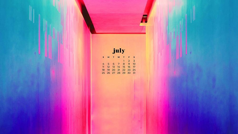 July 2021 wallpaper calendar colorful doorway rainbow colors